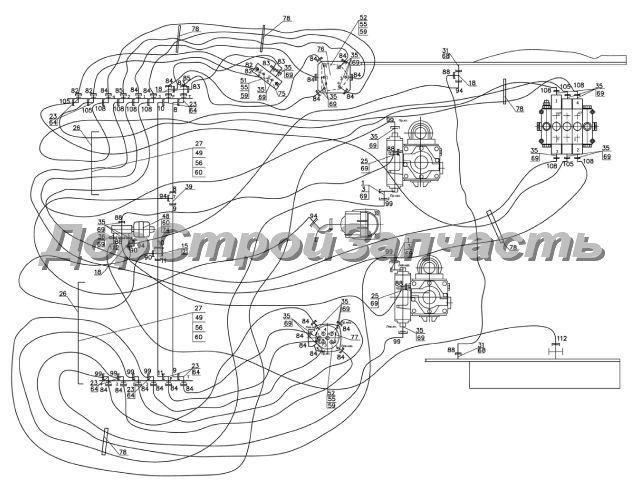 14. Гидросистема.  Схема гидравлическая соединений.  Нажмите на картинку для увеличения.