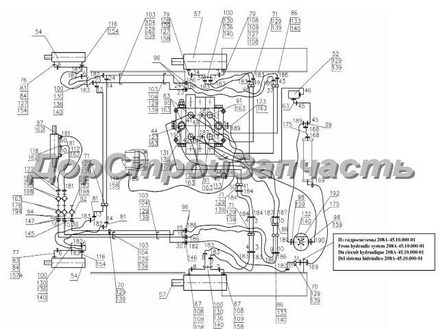 Нажмите на картинку для увеличения.  16. Гидросистема рабочего оборудования.  Схема гидравлическая соединений.
