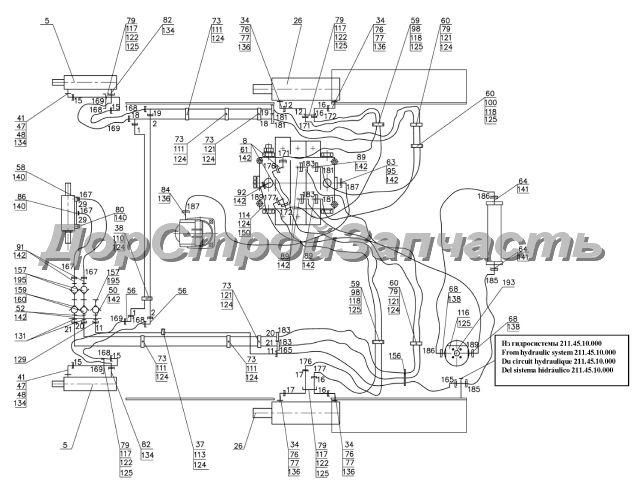 15. Гидросистема управления.  Схема гидравлическая соединений.  Нажмите на картинку для увеличения.